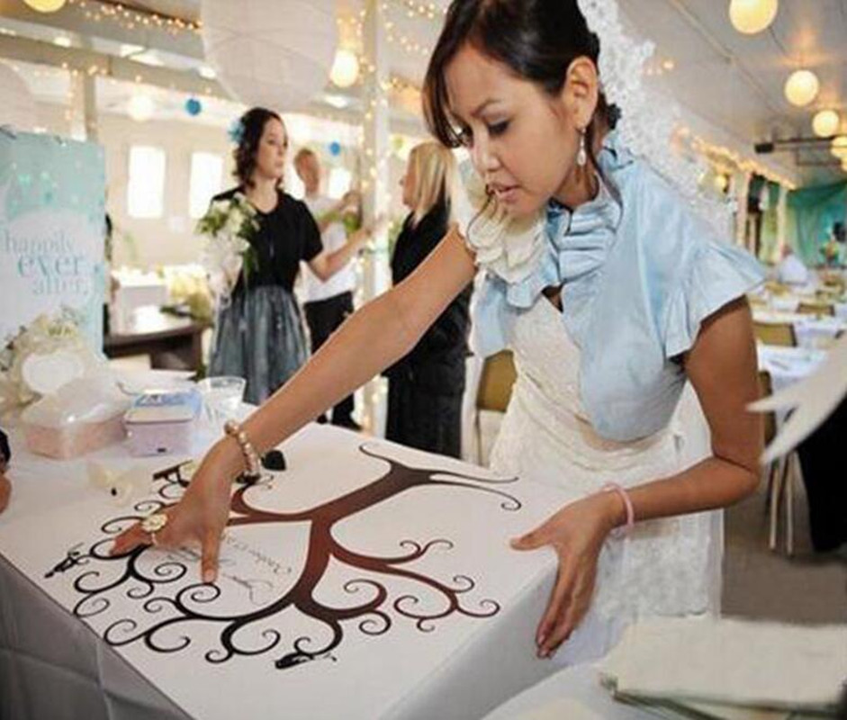New 1pcs 30x40CM Fingerprint Tree Wedding Guest Book Wedding Gifts Canvas Painting(China (Mainland))
