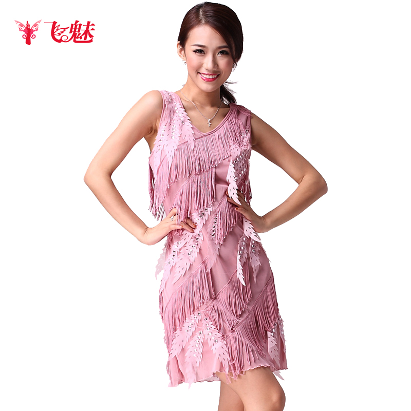 Feminina Dance Rushed Sale Latin Dress Table Costume Sleeveless Spaghetti Strap Tassel Skirt Practice(China (Mainland))