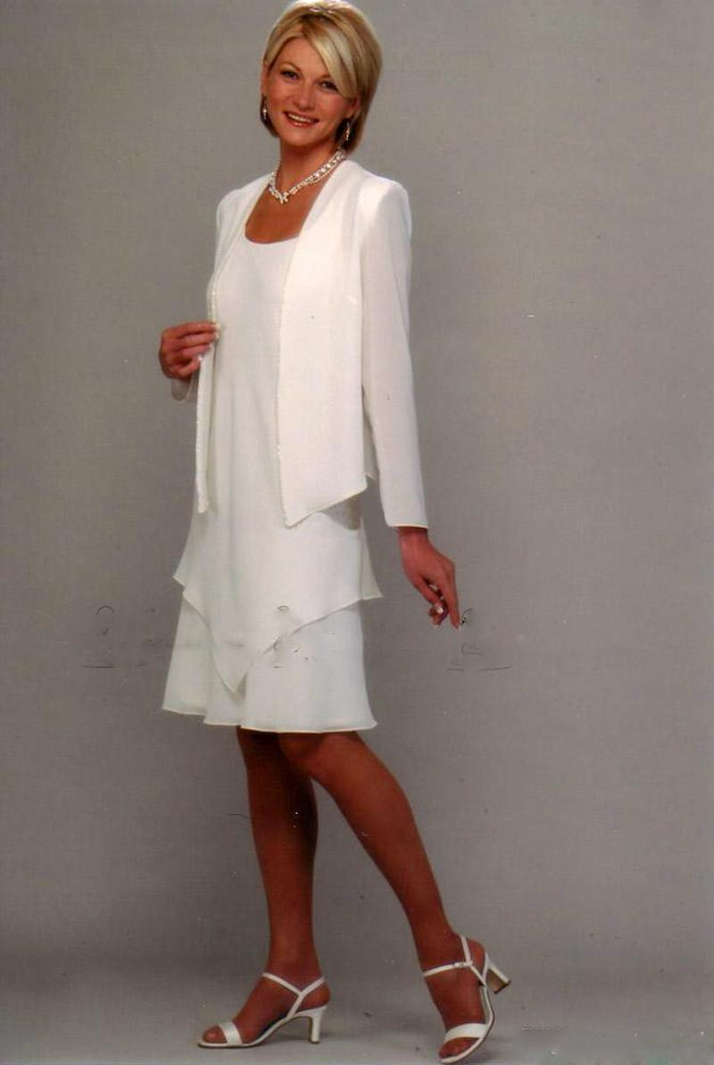 Mother Of The Bride Dresses New Arrival groom Formal Gown white Evening Wedding Party Knee Length off Long Sleeve Dress(China (Mainland))