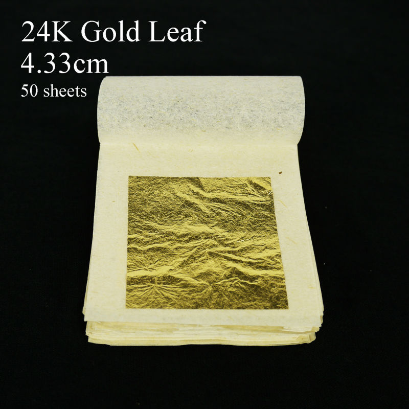 50 sheets 4.33x4.33cm 24K pure genuine gold leaf edible ...