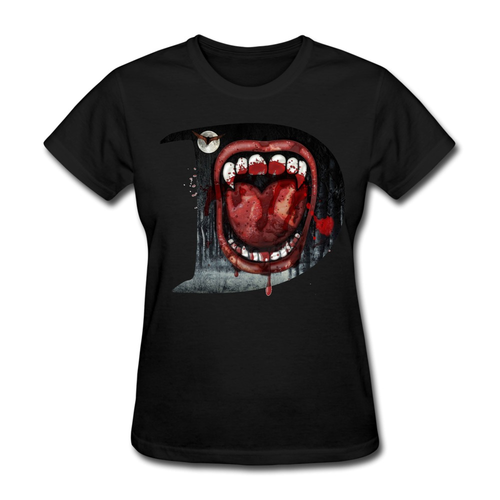 Free shipping gildan womens tee shirt dracula custom cool for Designer tee shirts womens