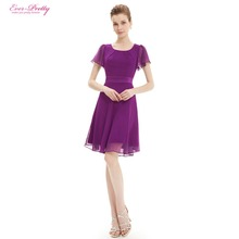 Cocktail Party Dresses Ever Pretty HE03990PP Purple Round Neck Chiffon Short Elegant Summer 2016 New Arrival Cocktail Dresses(China (Mainland))