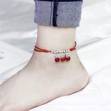自由奔放に生きる赤糸足首のブレスレットシルバーカラービーズ足ブレスレットチェーン文字列 Halhal アンクレット足に女(China)