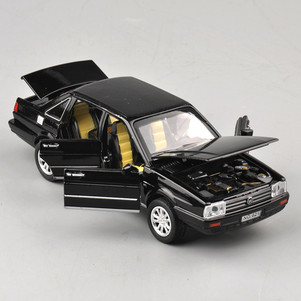 1/32 Volkswagen Jetta Diecast Black Car Model Toys For Children Electronic and Sound Gifts Collections Pull Back(China (Mainland))