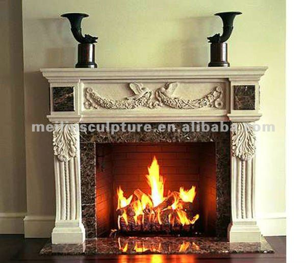 European White Marble Cnc Carved Electric Fireplace Mantel