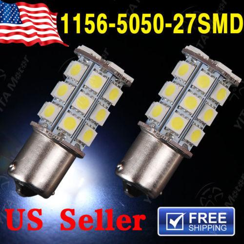2pcs Car Styling led Light 1156 BA15S LED 27-SMD Light bulbs Tail Backup Car RV Trailer 12V White 11 1003 Light Bulb Lamp -B(China (Mainland))