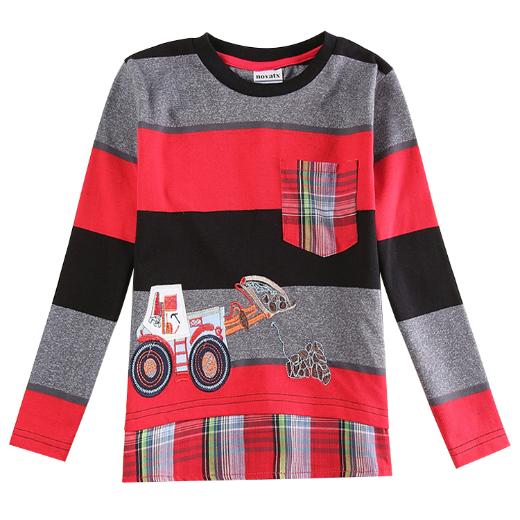 2015 NOVA Children new  design Car  Printed Pocket Decoration autumn  Stripe T-Shirts For Boys Fashion Kids Boy Clothing Retail<br><br>Aliexpress