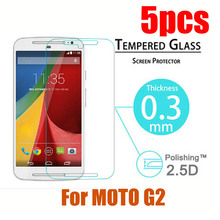 For Moto G2 G LTE XT1079 5″ 5pcs/lot 0.3mm 2.5D 9H Explosion-Proof Toughened Tempered Glass LCD Film HD Screen Protector Cover