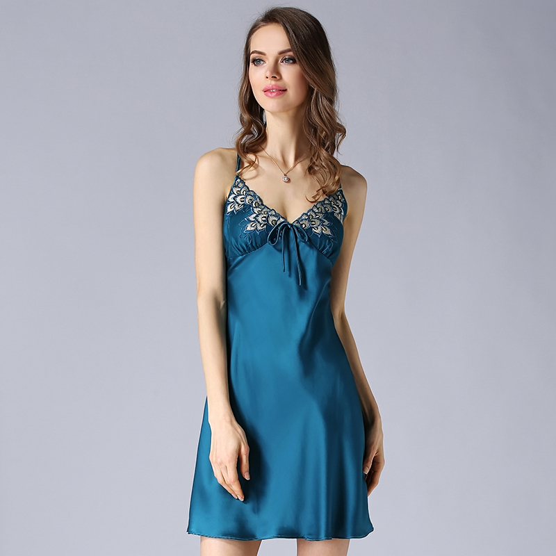 High Quality Heavy Silk Nightgown Female Summer 100% Silk Women Lace Suspenders Sexy Embroidery Nightdress Free Shipping D33159(China (Mainland))