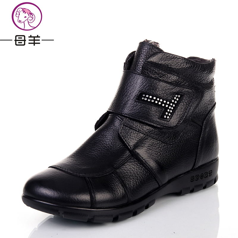 Plus size(35-43) Autumn Winter Shoes Woman Genuine Leather Flat Snow Boots 2015 Fashion Ankle Boots Women Warm Shoes Women Boots(China (Mainland))