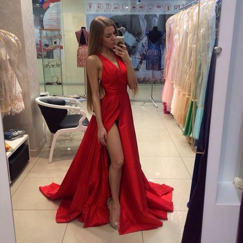 Vestido Лонго Мода Красный Щелевая сторона Пром Платья V-образным Вырезом Sexy Платье De Festa Сшитое Вечернее Платье CGE433
