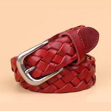 חם אופנה יוקרה מעצב אריגת חגורת נשים באיכות גבוהה מלא גרגרים אמיתי עור אמיתית לנשימה חגורת ג 'ינס(China)