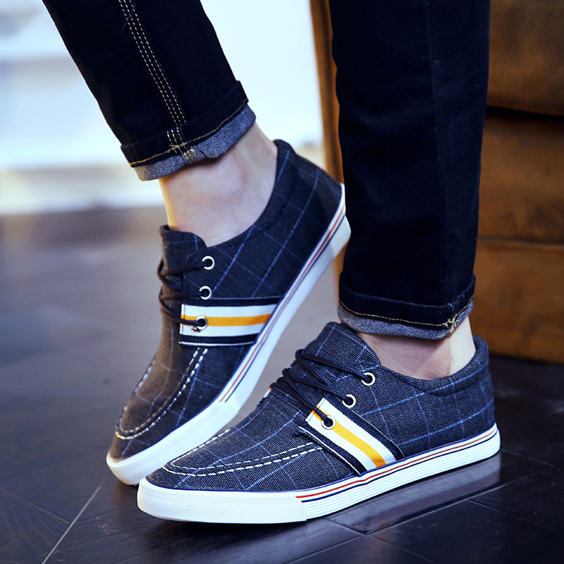 Free Shipping Men 2016 Spring Canvas Shoes Lacing Casual Shoes Outdoor Flats Size 39~43<br><br>Aliexpress