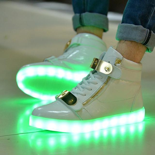 Цереуса мужчины женщины мода светящиеся обувь металла высокие из светодиодов USB ...