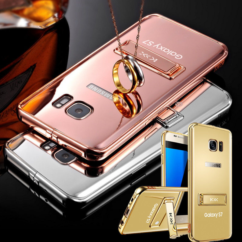 """For Galaxy Glossy Gold-Plating Stand Mirror Case Back Cover For Samsung Galaxy S7 5.1"""" G9300 Metal Frame+Back PC Phone Shell(China (Mainland))"""