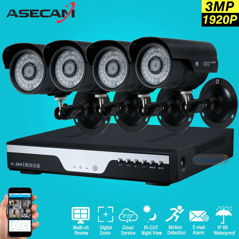 4ch Full HD 1920p CCTV kit DVR Video Recorder AHD Outdoor Black Bullet 2mp Security Camera System Kit Surveillance Email alert(China (Mainland))