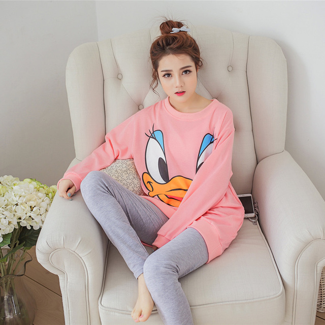 Осень и весна женщины пижамы комплект хлопка M-3XL с длинным рукавом милые теплая ...