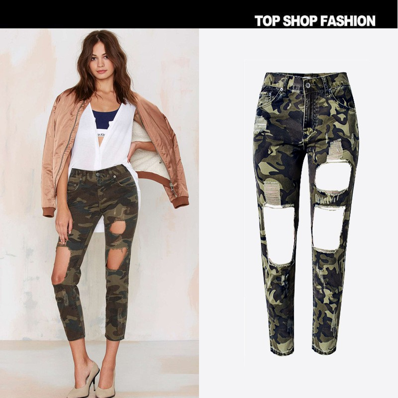 New Fashion Army green jeans woman high waist loose ripped jeans for women denim jean pants Hole Heat wave camoufl jeans woman