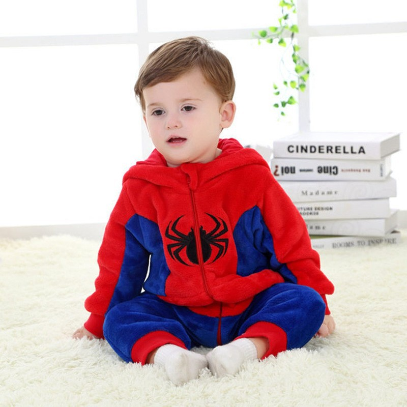 Spring and autumn baby boy clothes spiderman Captain America baby boy rompers Red Blue newborn clothes bodysuit one piece bebe (3)