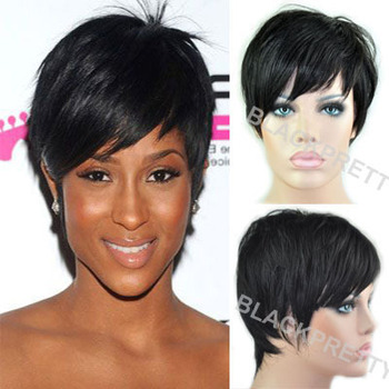 2015 New Pixie Cut Human Natural Hair Wig Rihanna Black Short Cut Wigs For Black Women African American Celebrity Wigs Hot Sale