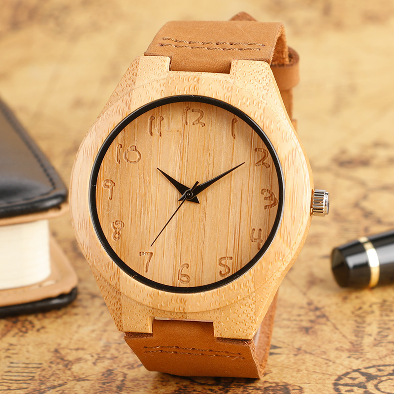 Fashion Wooden Quartz Watches Men Women Gift Genuine Leather Band Modern Nature Bamboo Analog Wrist Watch