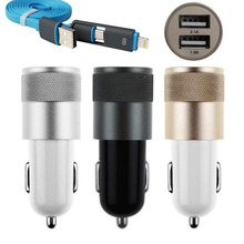 USB Data Cable+ 12V 2.1A Aluminium Dual USB Car Charger Adapter For iPhone 6 6S Plus 5 5S Plus And Other phones Car-Charger