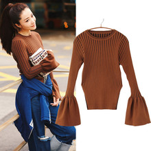 2016 Autumn Fashion Brand Sweater Women Sweaters And Pullovers Flare Long Sleeve Knitted Pullover Slim Fit Jumper Pull Femme