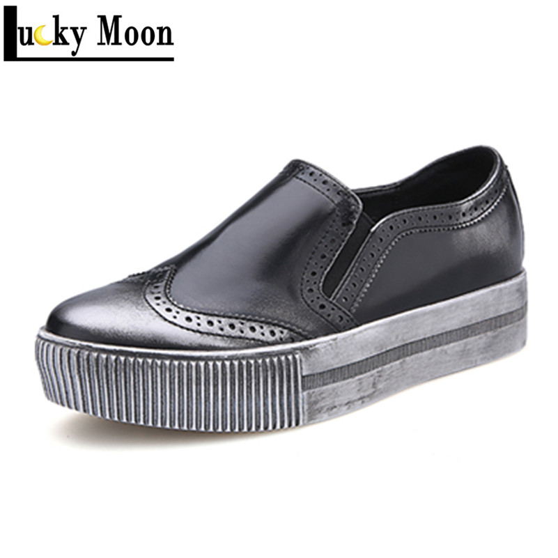 2016 Sping Autumn Top Quality Oxford Shoes for Women British Style Retro Round Toe Slip On Casual Shoes Woman Brogues<br><br>Aliexpress