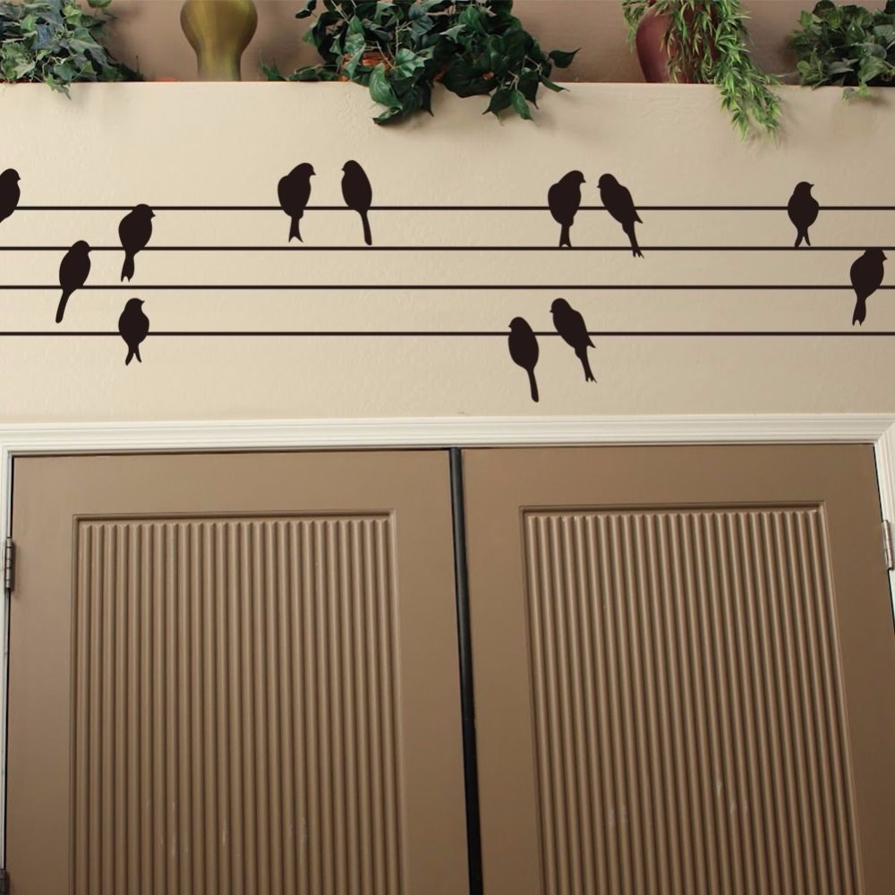 bird on wire removable wall art sticker vinyl decal mural home decor