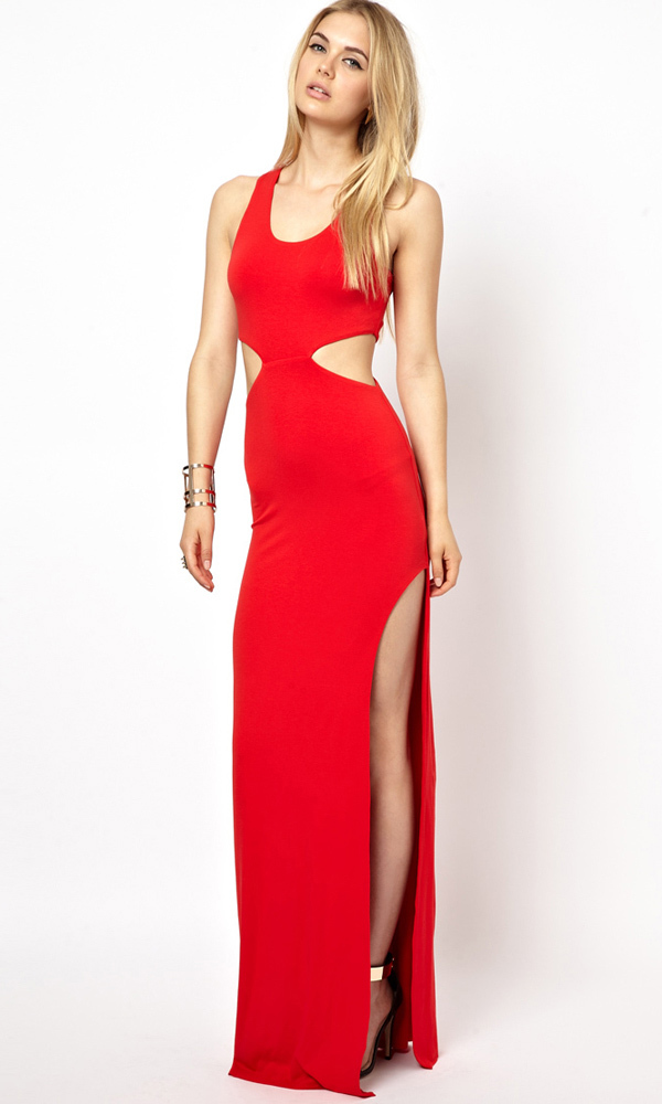 Hollow out sexy party dress lady sleeveless casual long dresses red