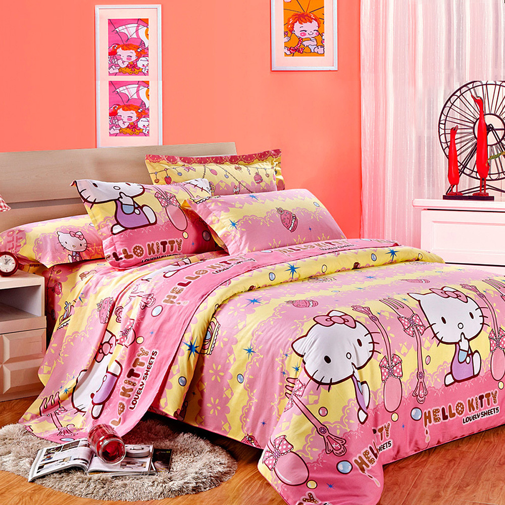 100 Cotton 3 4pcs Bedding Sets For Kids Single Double Bed Children Cartoon Cat Bed In A Bag