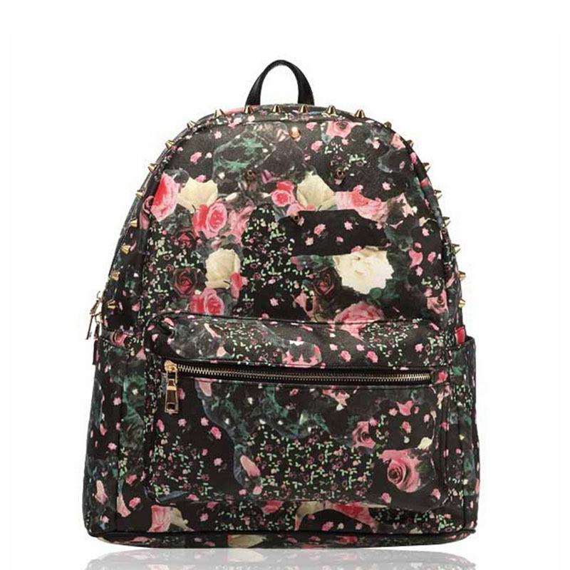 mc Print Floral Leather Backpacks Fashion Hippie School Rivet Bags Outdoor Travel Packs Cycling Rucksack bolsas mochila XA961C(China (Mainland))
