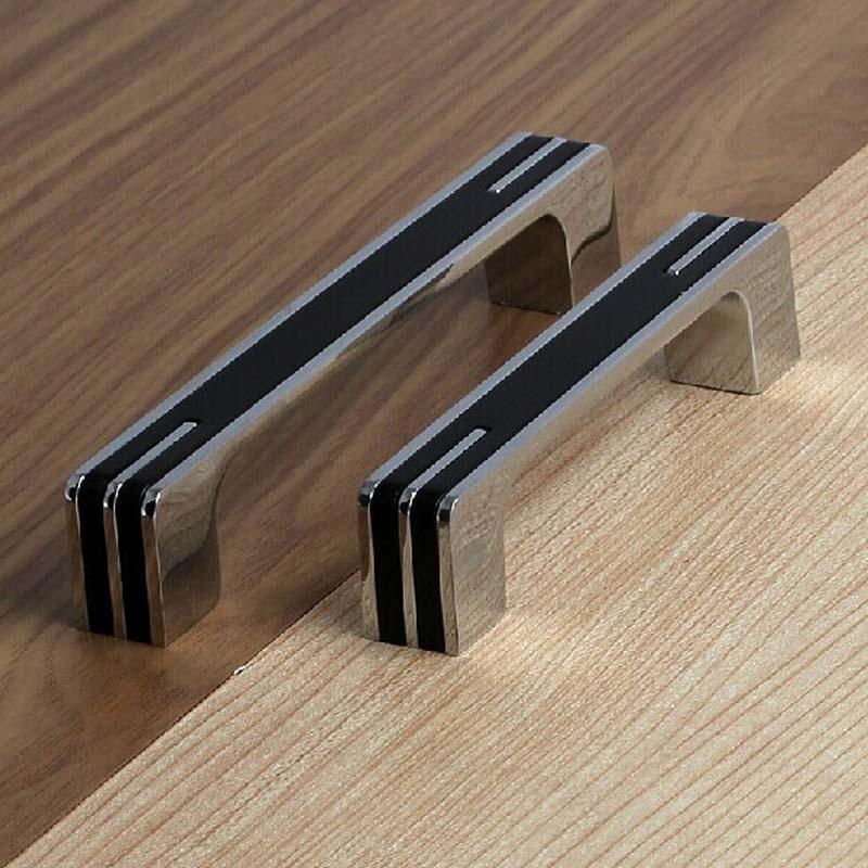 96mm shiny silver cabinet handle black cupboard pull knob chrome drawer dresser door handle modern fashion furniture pull(China (Mainland))