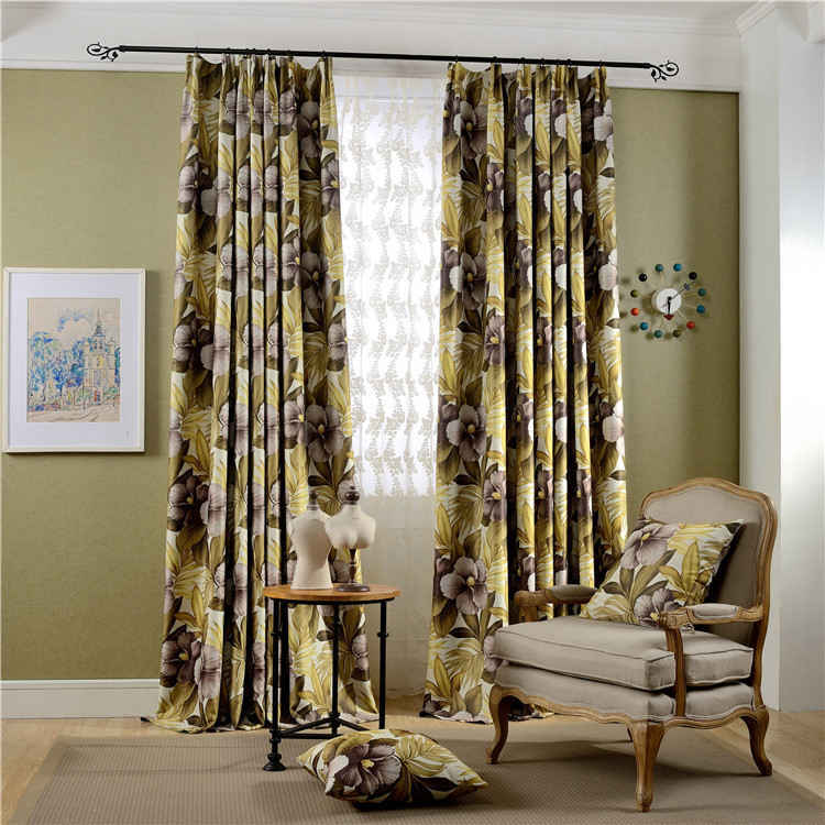 Factory direct new printing full blackout curtains fabric for Living room curtain fabric