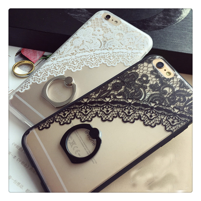 Hot VS secret Black Lace floral Pattern Case For iPhone 6 6s 6plus 6splus Hard Back Cover Cases half rose lace ring phone skin(China (Mainland))