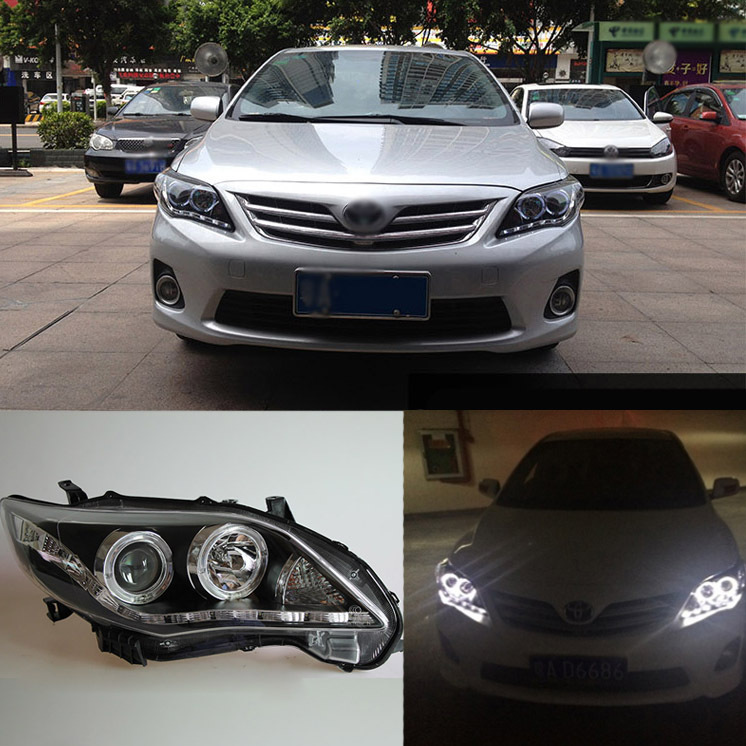 Superb LED DRL Light Bar Bi Xenon Projector Lens Headlights For Toyota Corolla 2011-2013(China (Mainland))