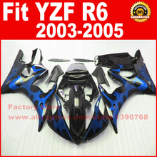 Buy New motorcycle fairings set for 2003 2004 2005 YAMAHA YZFR6 03 04 05 YZF R6 46 blue flame in black fairing kits bodywork parts for $297.60 in AliExpress store