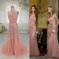 ORP218 real images pink women dress tulle floor length mermaid v neck low back evening dress