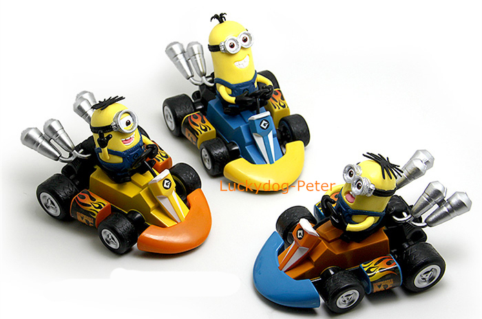 Despicable Me 2 Action Figure Minions Racing Doll 1/10 scale painted figure Motorcycle race Minions PVC ACGN figure Toys Anime(China (Mainland))