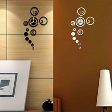 Modern Acrylic DIY Wall Clock Digital Clock Watch 3D Mirror Sticker Surface Wall Sticker free shipping(China (Mainland))