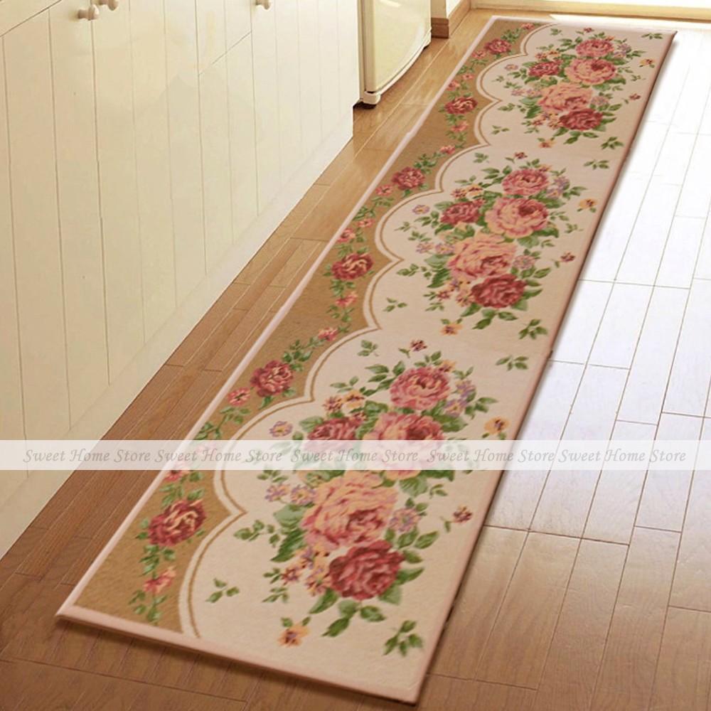 Extra Long Peony Blossom Home Kitchen Floor Mat Runner Rug Bath Door Carpet 2