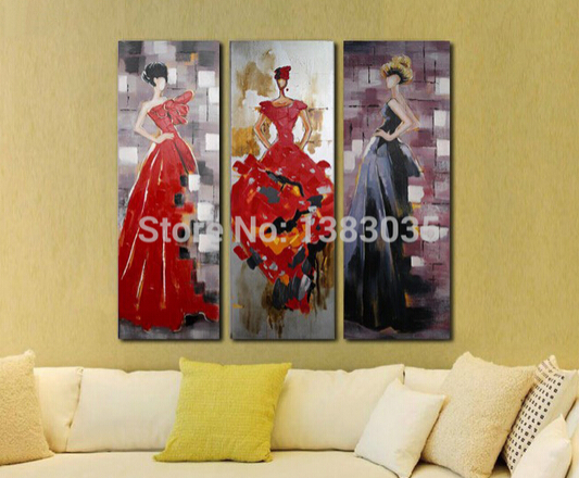 Hand Painted Abstract Portraits Paintings Beautiful Women Modern Canvas Art 3 Piece Wall Decor Oil Picture Sets(China (Mainland))