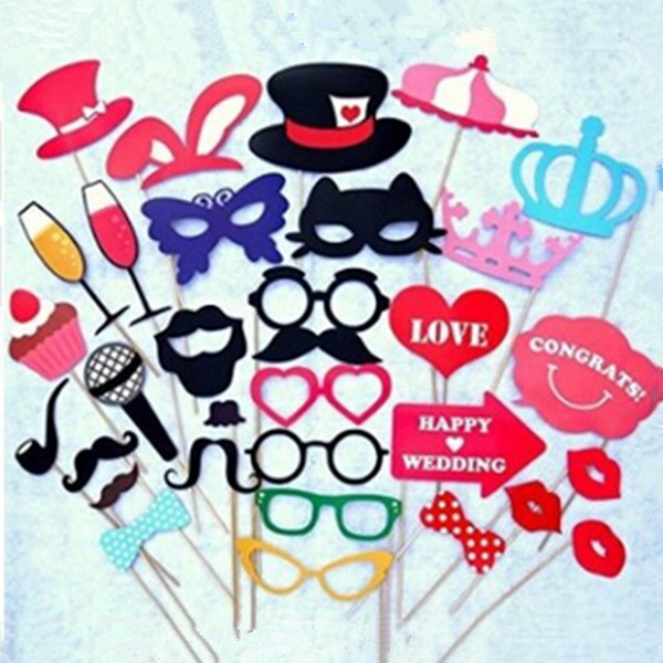 DIY Masks Photo Booth Props Mustache Stick Wedding Party Fun Favors 1 Set - Best Feng Haohan store