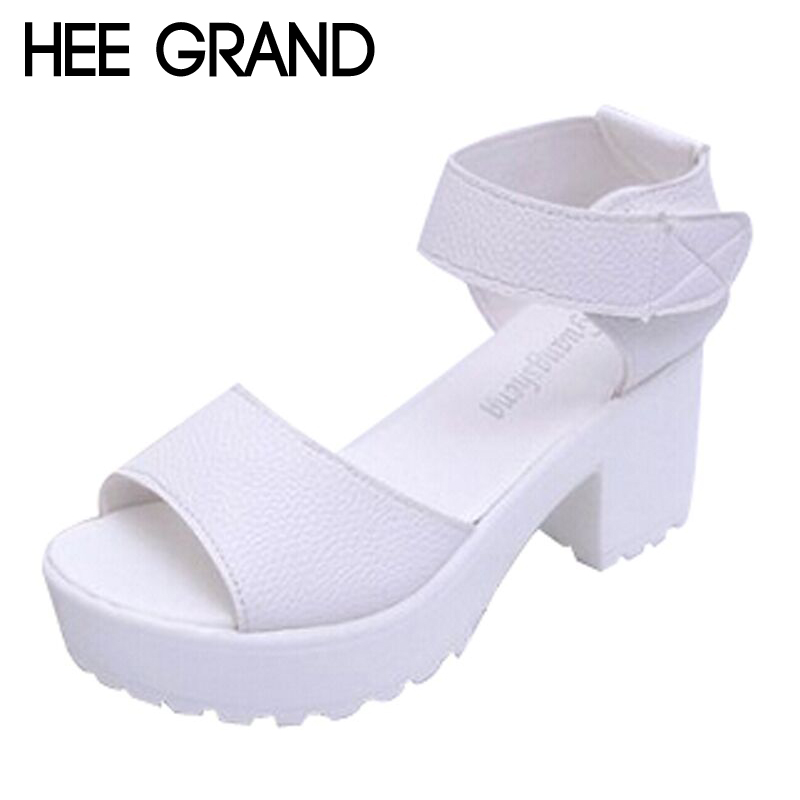 2016 New Summer Pep-toe Woman Sandals,Platform Thick Heel Summer Women Shoes Hook & Loop Fashion All Match Shoes For Ladies 835(China (Mainland))