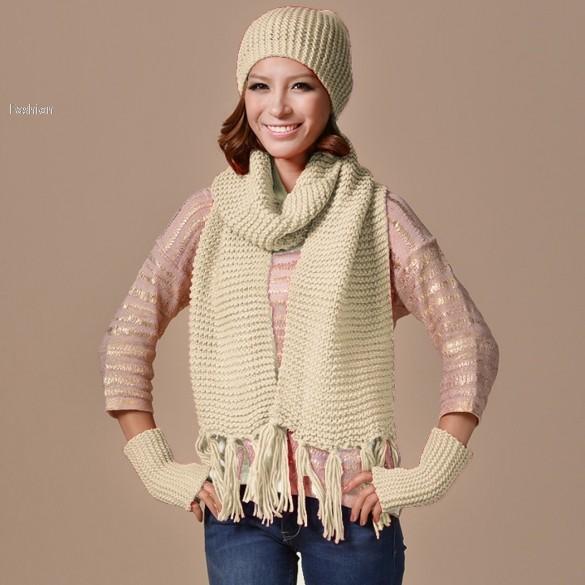5 Color New Year Gift 3pcs Set Women Fashion Gloves Scarf Hat Set Kit Female Hat Scarf Gloves Set Free Shipping 50(China (Mainland))