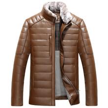 Hiver élégant marque vêtements hommes véritable peau de mouton en cuir manteau canada goode oie vestes stand col rex lapin cheveux fourrure xxl(China (Mainland))