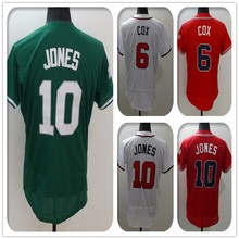 2016 New Fabric Flexbase Version #6 Bobby Cox #10 Chipper Jones Jersey Color Green Red White Heat-sealed Tagless Jerseys(China (Mainland))