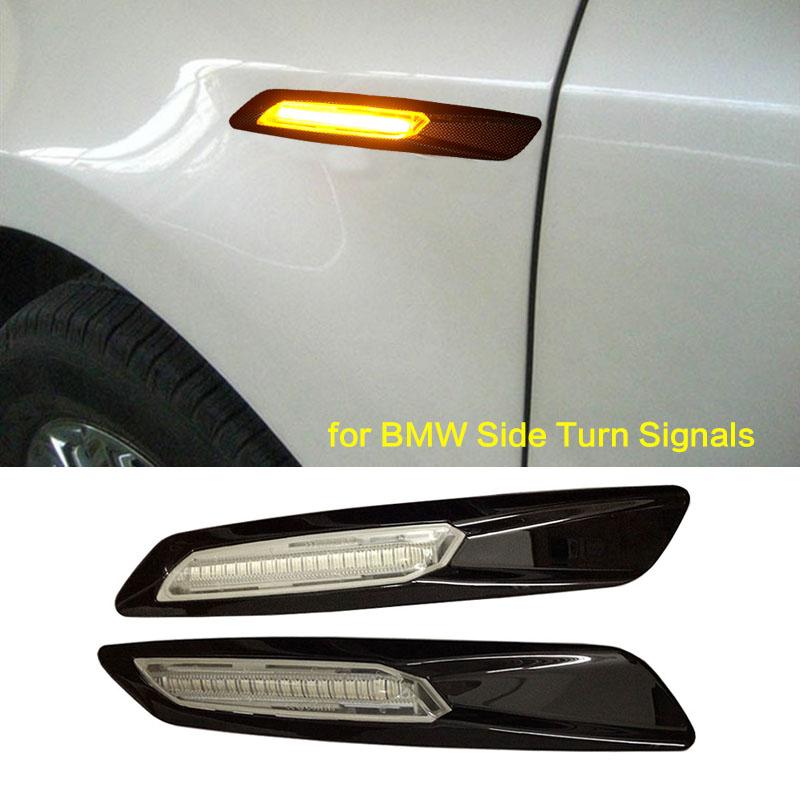 Gloss Black Type+Clear Len F10 Style LED Fender Side Marker Turn Signal Light for BMWE60 E61 F10 E81 E82 E87 E88 E90 E91 E92 E93(China (Mainland))