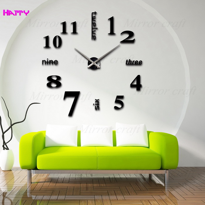 3D large wall clocks Big Digital Home decoration mirror sticker clock Modern design size DIY unique gift - YIWU MIRROR CRAFT FACTORY store