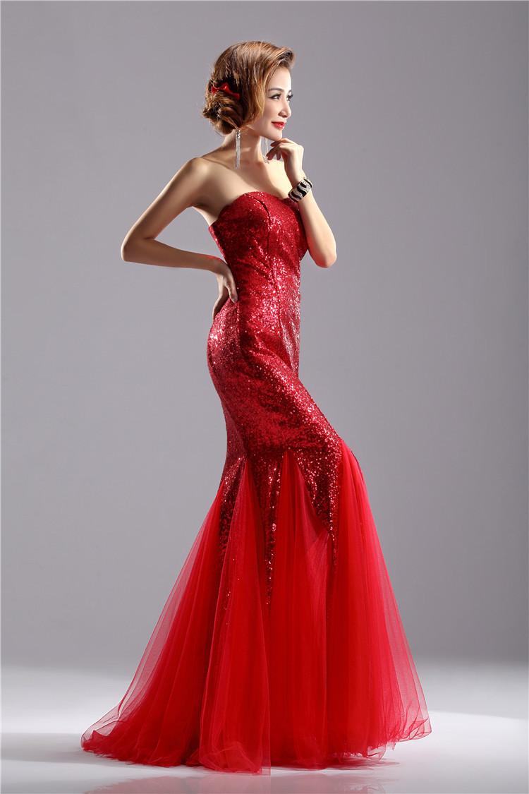 Women Fashion Vintage Elegant Strapless Sequines Formal Party Evening Wedding Prom Maxi Mermaid Dress vestidos de novia DH98